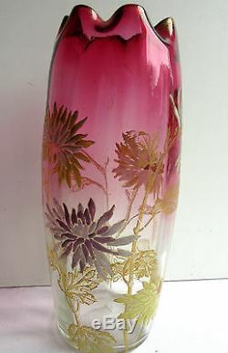 Vase LEGRAS Art Nouveau verre émaillé de TOKYOS, dégradé rouge modèle OLGA
