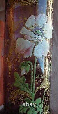 Vase Legras / Montjoye art nouveau en verre violet émaillé Fleur de Pavot