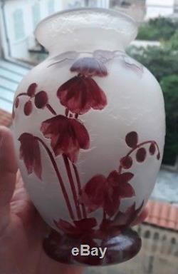 Vase Legras Rubis Dégager À L'acide Art Nouveau