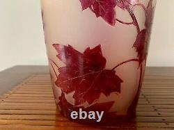 Vase Legras Rubis En Pate De Verre Grave A L'acide Ecole Nancy Art Nouveau 1900