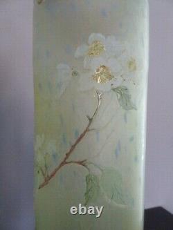 Vase Legras signé, pate de verre, Art nouveau, pommiers japonisant