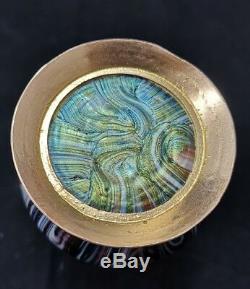 Vase Loetz art nouveau en verre irisé soufflé, bronze Iridescent glass vase