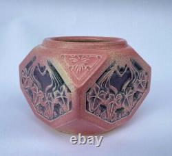 Vase Louis Majorelle Gres Mougin Nancy Art Nouveau Octogonal Lierre Rose M195