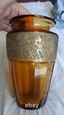 Vase Moser Karlsbad signe Art nouveau ambre Cristal Frise or