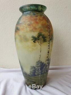 Vase Muller Frères Lunéville dégagé à l'acide d'écorce aux bouleaux Art Nouveau