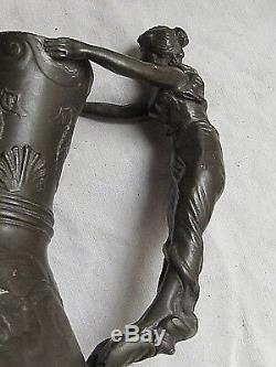 Vase Naïade chérubins marins signé Ch. T. Perron pichet étain pur Circa 1910