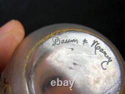 Vase Parlant Renflé Gravé Acide Doré Art Nouveau signé en creux Daum Nancy H 8cm