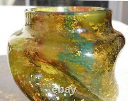 Vase Pate De Verre Art Nouveau Inclusions D'or Eugene Rousseau Ernest Leveille