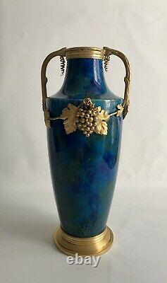 Vase Paul Millet Céramique Manufacture De Sèvres Bleu Turquoise Art Nouveau