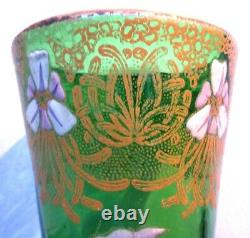 Vase Printemps Art Nouveau verre émaillé Legras d'iris violets et dentelle or
