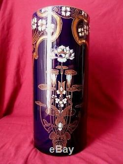 Vase Rouleau Art Nouveau En Faience KG Luneville Emaille Hauteur 27cm