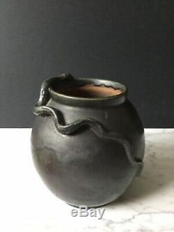 Vase Saint Honoré Louis Martin Grès Flammé Noir Entouré Serpent Art Nouveau