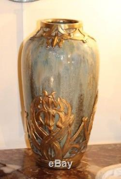 Vase Sevres Art Nouveau vase ceramic brass Floral pattern Iris flower Gold vase