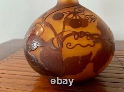 Vase Soliflore Emile Galle Pate De Verre Grave A L'acide Ecole Nancy Art Nouveau