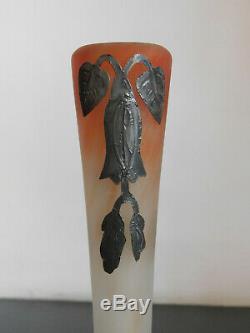 Vase Soliflore Pte De Verre Marmoréen Muller Frères Lunéville Art Nouveau