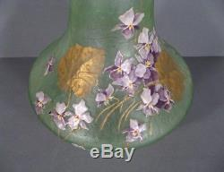 Vase Style Art Nouveau Verre Émaillé Signé Montjoye Legras Verrerie Saint Denis