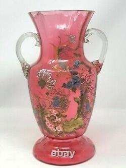 Vase Verre Soufflé Emaillé A décor de Fleurs Art Nouveau Antique Enamel Glass