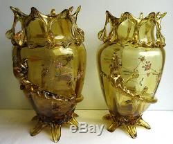 Vase à la Salamandre d'Auguste JEAN Art Nouveau verre ambre émaillé de papillons