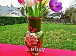 Vase ancien Chrysanthèmes en faïence bronze Art Nouveau France Antique vase Chry