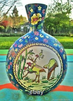 Vase ancien Oiseaux émail faïence Art Nouveau France Antique Vase Oiseaux Enamel