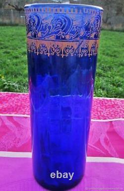 Vase ancien en verre Iris Art Nouveau début XXème siècle Fran. Antique vase Iris