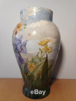 Vase ancien faience art nouveau fleur iris Théodore LEFRONT fin 19 siècle