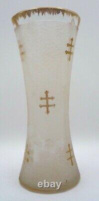 Vase art nouveau Nancy DAUM verre dégagé à laide décor de croix de lorraine