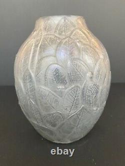 Vase art nouveau art déco feuilles mortes André Hunebelle patiné gris