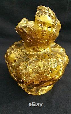 Vase art nouveau bronze signé JULES MELIODON 1896