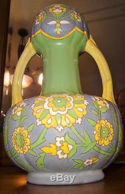 Vase art nouveau céramique émaillé décor floral ZsolnayAmphora