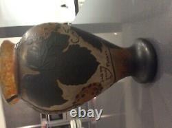 Vase art nouveau daum Nancy France en patte de verre degrave a l acide haut 20,5