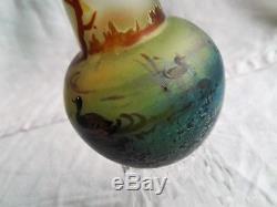 Vase art nouveau en verre soufflé décor lacustre au canard Montjoye Legras Gallé