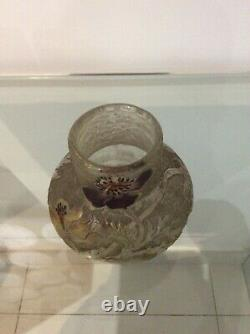 Vase art nouveau signe galle degrave a l acide haut 11,8 cm diam 13 cm