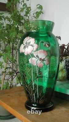 Vase art nouveau verre vert émaillé Legras anémones mauves et blanches
