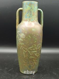 Vase balustre ansé art nouveau Aire Belle en faience irisée signé sous la base