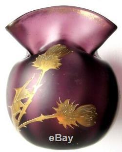 Vase bourse Art Nouveau, verre violet émaillé Legras à l'Or fin Chardons