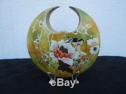 Vase céramique décor oiseau fleurs doré émaillé vers 1920
