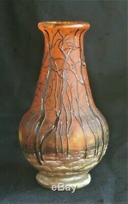 Vase-daum-pate De Verre-nancy-art Nouveau-decor A La Neige-ecole De Nancy