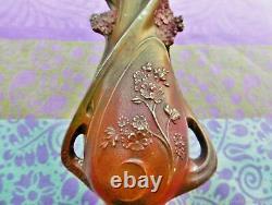 Vase décoratif ancien Pensees regule patiné Art Nouveau France. Antique decora