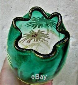Vase émaillé Legras fleurs de Tokyo d'époque art nouveauDégradé vert