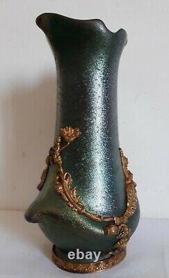 Vase en céramique irisée monture bronze décor végétal femmes 1900 Art Nouveau