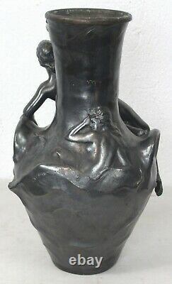 Vase en étain Naïade art nouveau Jean Garnier Sete