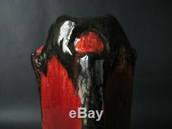 Vase en terre cuite émaillée sang de boeuf signé LACHENAL, époque Art Nouveau