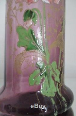 Vase en verre émaillé Legras modèle Rivoli Art Nouveau 1900 Décor Pavots