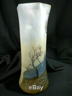 Vase en verre émaillé signé LEGRAS ART NOUVEAU 1900