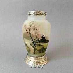 Vase en verre et argent massif Art Nouveau
