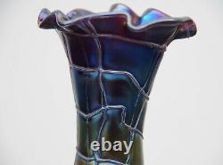 Vase en verre irisé Pallme König 1900 Art Nouveau Jugendstil Bohême état parfait