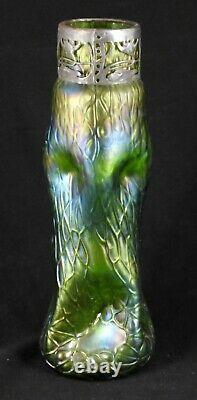 Vase en verre irisé loetz kralik art nouveau jugendstil cerclage art nouveau
