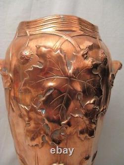 Vase époque art nouveau signé Gustave de Bruyn en galvanoplastie de cuivre