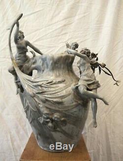 Vase étain ART NOUVEAU signé MADRASSI Luca 59 cm